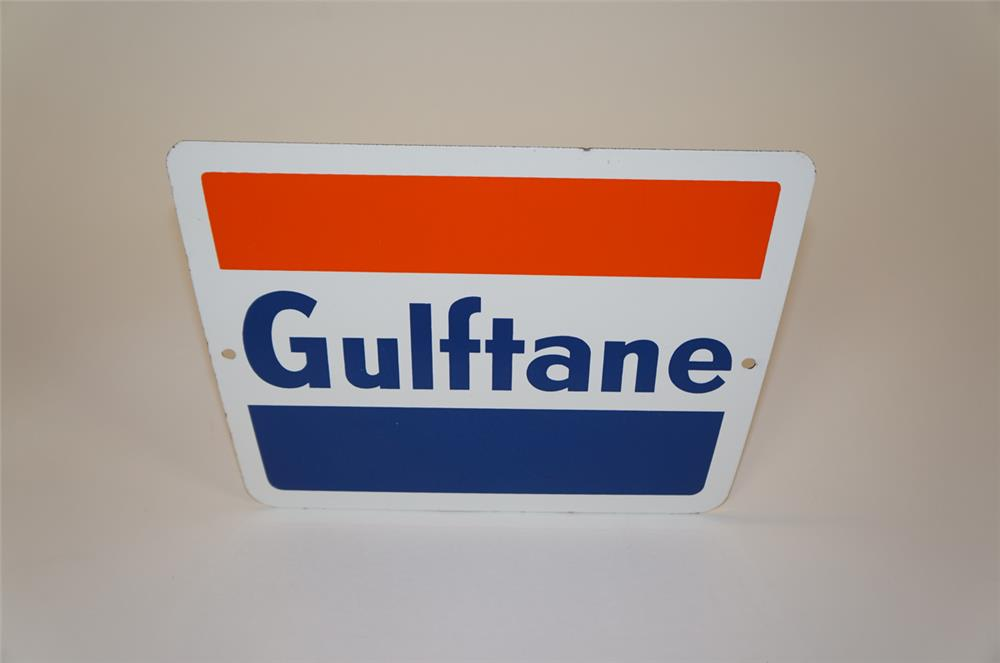 """NOS early 1960's Gulf Oil """"Gulftane"""" single-sided porcelain pump plate sign. - Front 3/4 - 182241"""