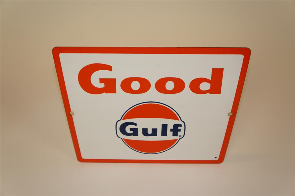 "NOS late 1950's Gulf Oil ""Good Gulf"" Gasoline single-sided porcelain pump plate sign. - Front 3/4 - 182243"