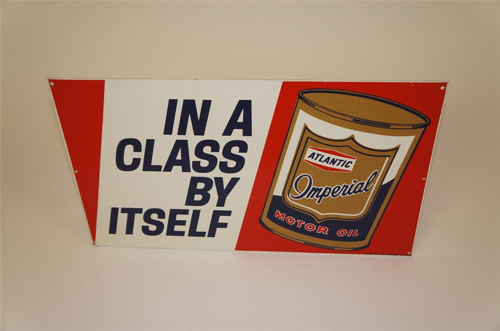 NOS 1955 Atlantic Imperial Motor Oil single-sided tin sign with can graphic. - Front 3/4 - 182244
