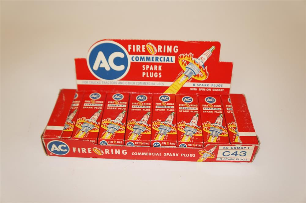1950's AC Fire Ring Spark Plugs counter-top display box full of unused plugs. - Front 3/4 - 182247