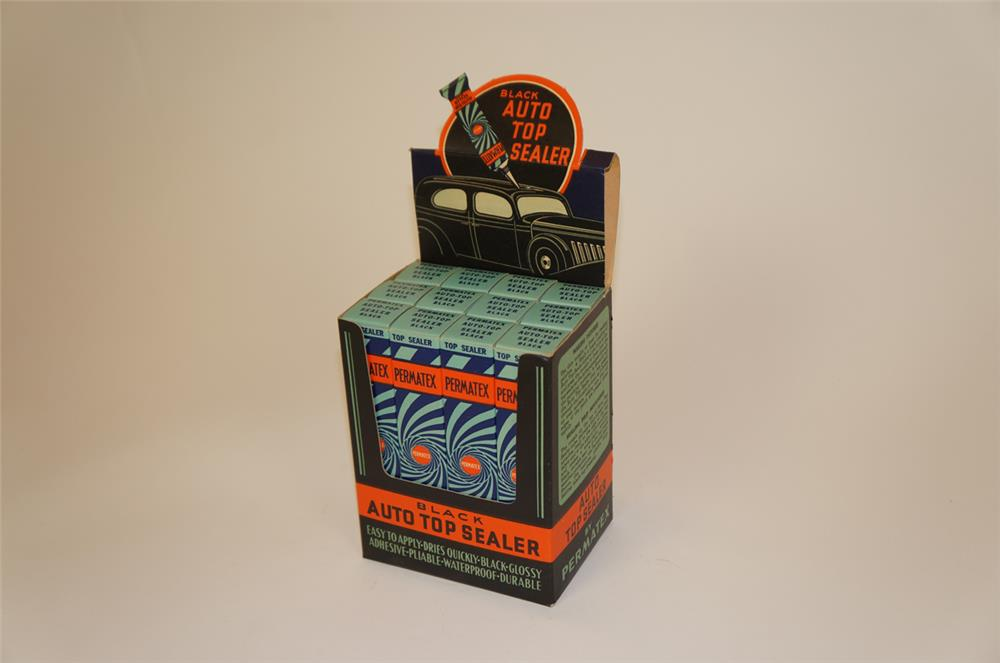NOS 1930's Permatex Auto Top Sealer counter-top display still full of original product. - Front 3/4 - 182254