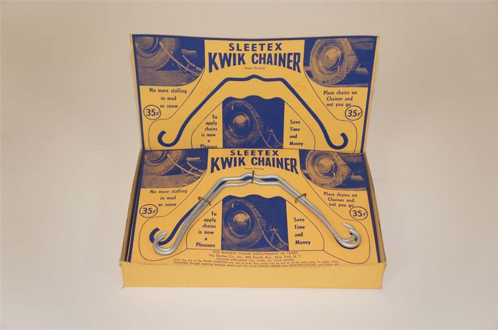1930's NOS Sleetex Kwik-Chainer Tire Chains counter-top display found unused. - Front 3/4 - 182258