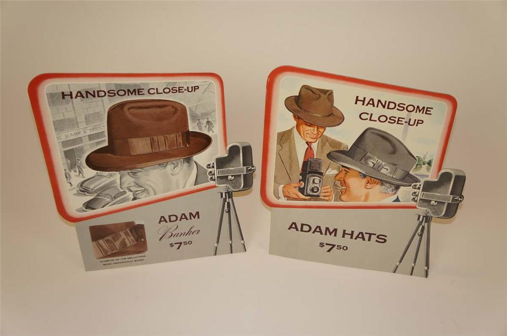 Fantastic lot of two 1950's Adam Hats store display easel-backed cardboard signs - Front 3/4 - 182260
