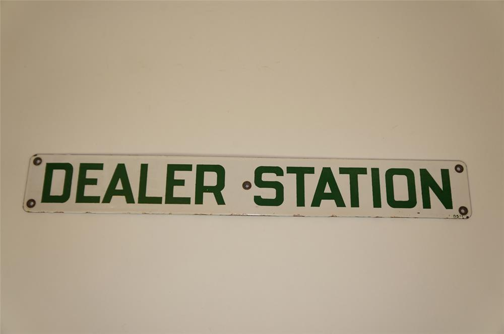 "1940's Conoco Oil ""Dealer Station"" single-sided porcelain service station sign. - Front 3/4 - 182269"