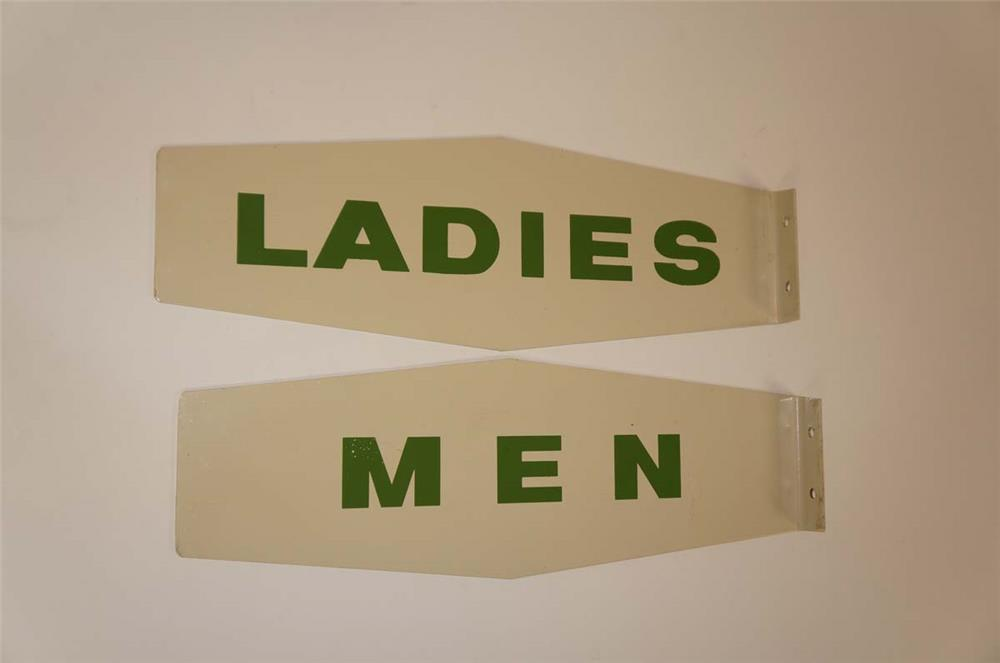 "NOS late 1950's-early 60's Texaco ""Men"" ""Ladies"" die cut tin flange signs. - Front 3/4 - 182270"