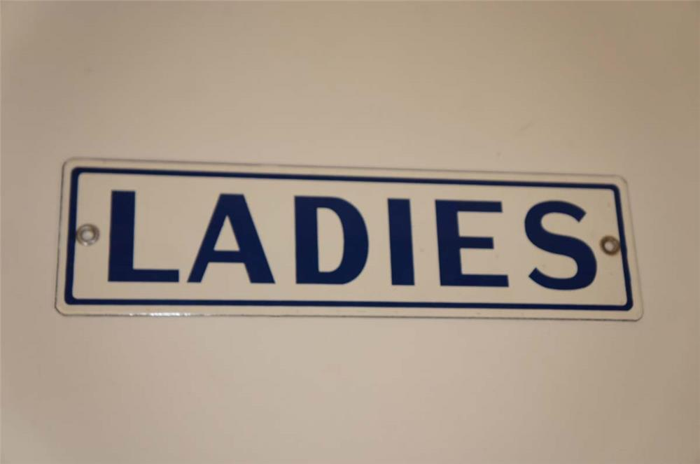 NOS late 1950's Ladies Rest Room single-sided porcelain service station sign. - Front 3/4 - 182277