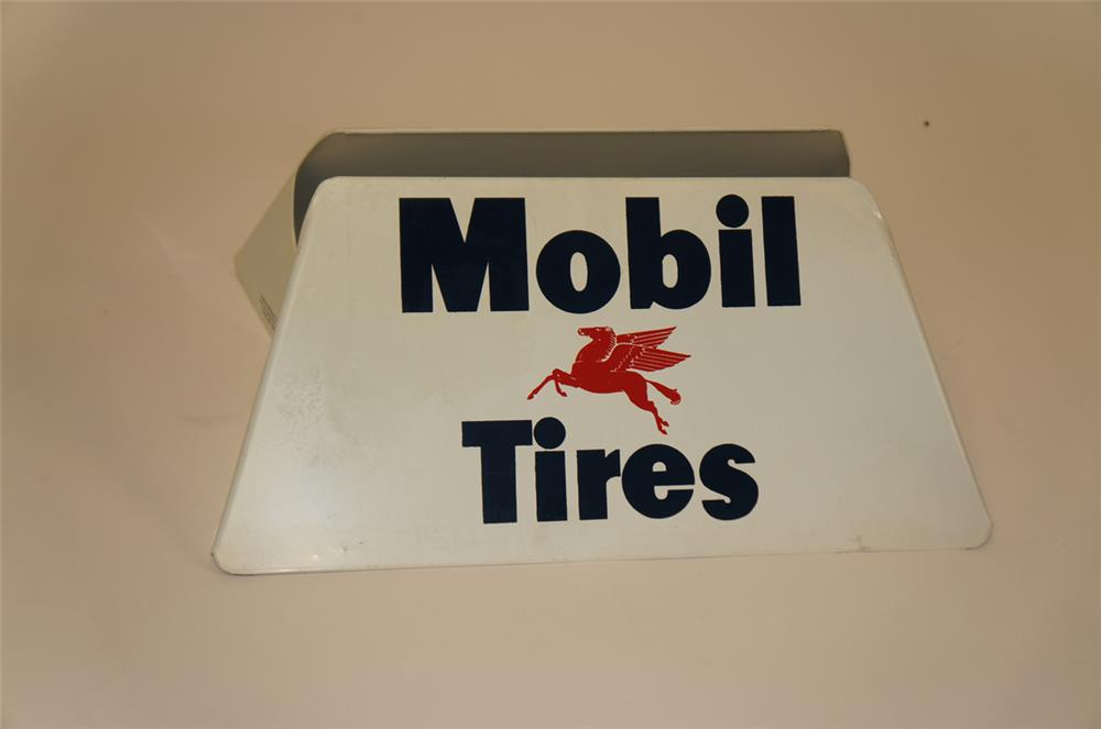 NOS 1950's Mobil Oil Tires metal service station tire display with Pegasus graphic. - Front 3/4 - 182280