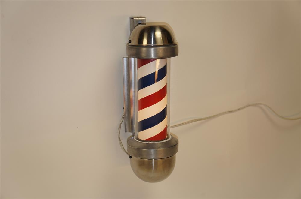 1950's Marvy light-up Barber Pole with reflector plate. - Front 3/4 - 182283