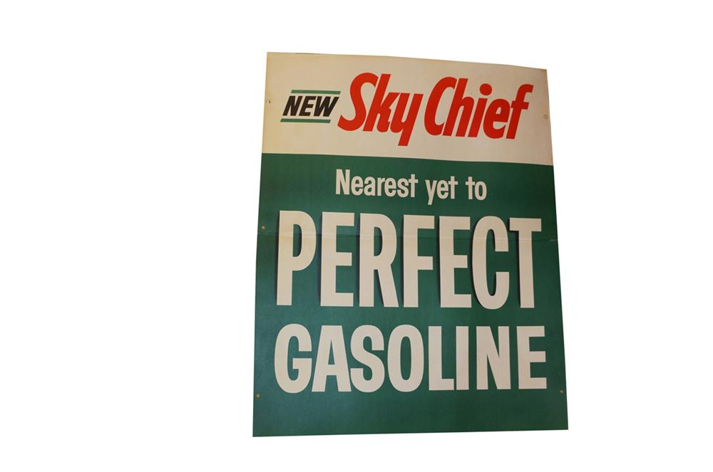Large late 1960's New Texaco Sky Chief Gasoline single-sided cardboard service station sign. - Front 3/4 - 182290