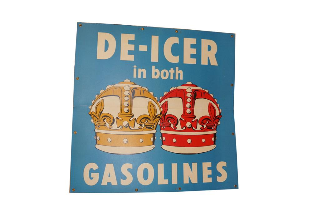 "NOS late 1940's Standard Oil ""De-Icer in both Gasolines"" single-sided service station cardboard sign - Front 3/4 - 182291"