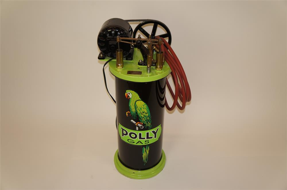 Rare perfectly restored 1920's Polly Oil filling station belt driven air compressor - Front 3/4 - 182294