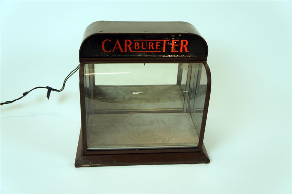 1930's Carter Carburetor light-up automotive garage counter-top display case. - Front 3/4 - 182307