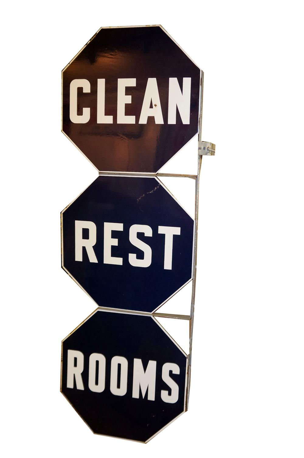 1950's Clean Rest Rooms double-sided porcelain vertical service station sign - Front 3/4 - 182308