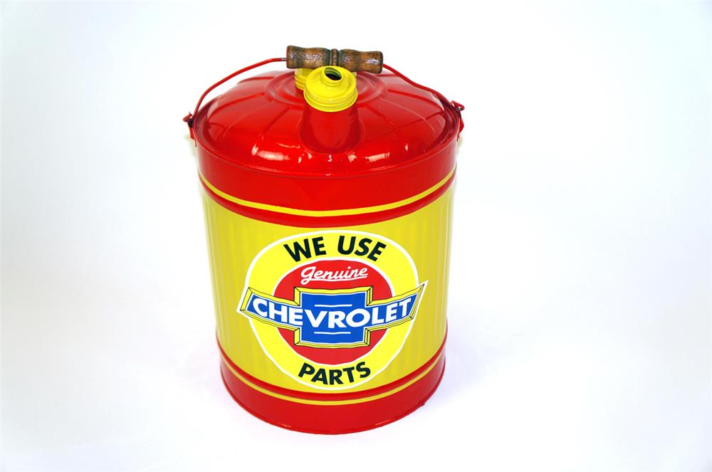 Large 1940's Chevrolet Genuine Parts restored five gallon service department multi fluid can. - Front 3/4 - 182311