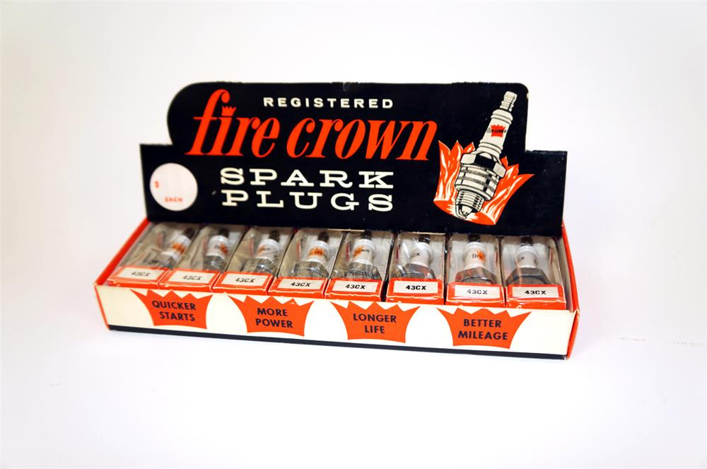 Fabulous early 1960's Fire Crown Spark Plugs automotive garage counter-top display - Front 3/4 - 182315