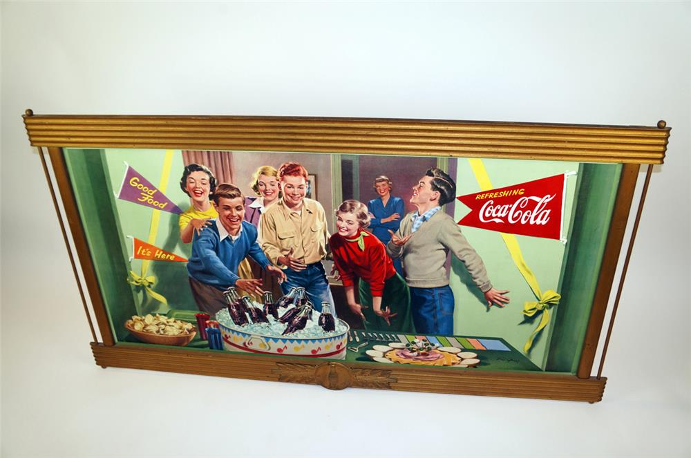 Fantastic 1952 Refreshing Coca-Cola party scene horizontal cardboard sign - Front 3/4 - 182320