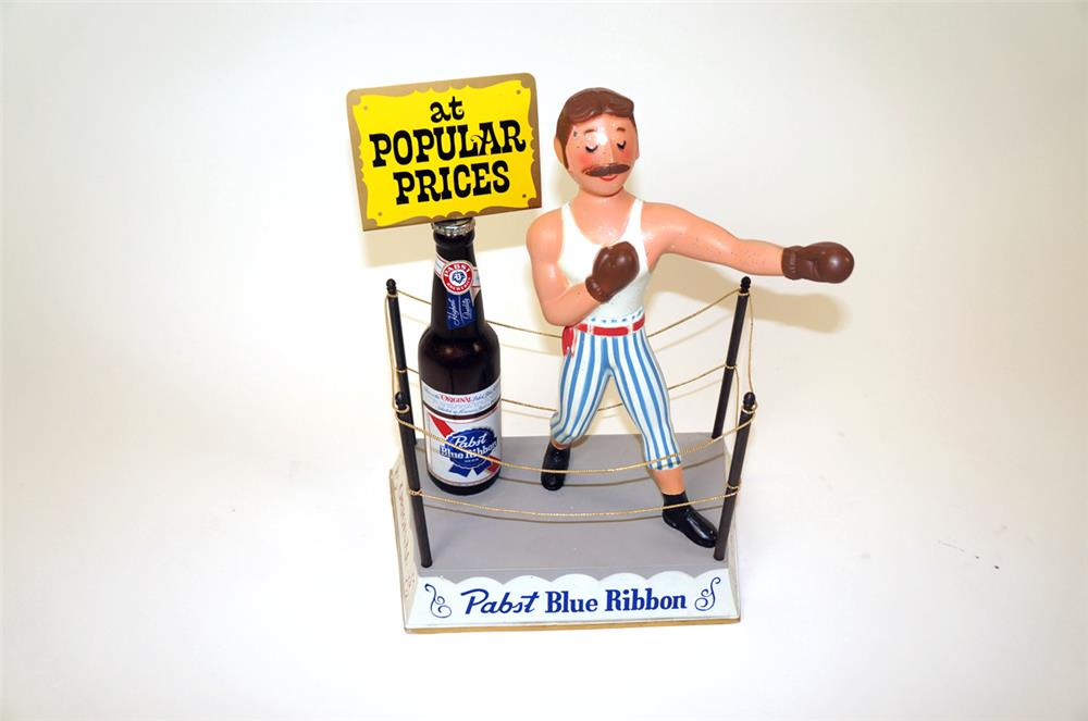 1960's Pabst Blue Ribbon Beer three-dimensional boxing themed tavern bar back display piece. - Front 3/4 - 182322