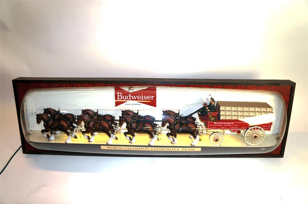 Large 1960's Budweiser World Champion Clydesdale Team lighted tavern sign. - Front 3/4 - 182327