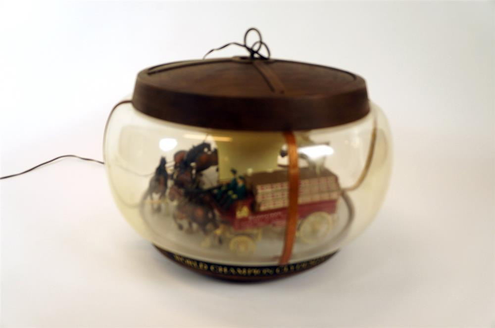 1960's Budweiser Clydesdale Team rotating tavern light complete with trailing Dalmatians. - Front 3/4 - 182329