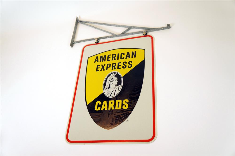 NOS. 1960's American Express double-sided tin sign with original hanging bracket. - Front 3/4 - 182337