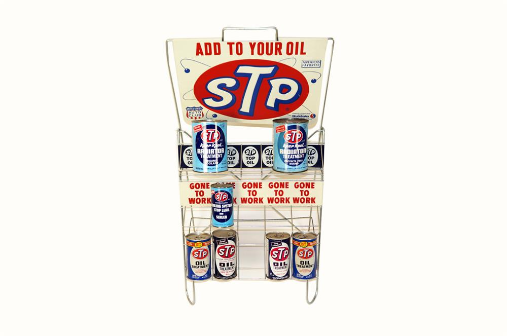 STP Motor Oil automotive garage display rack still full of period tins. - Front 3/4 - 182339