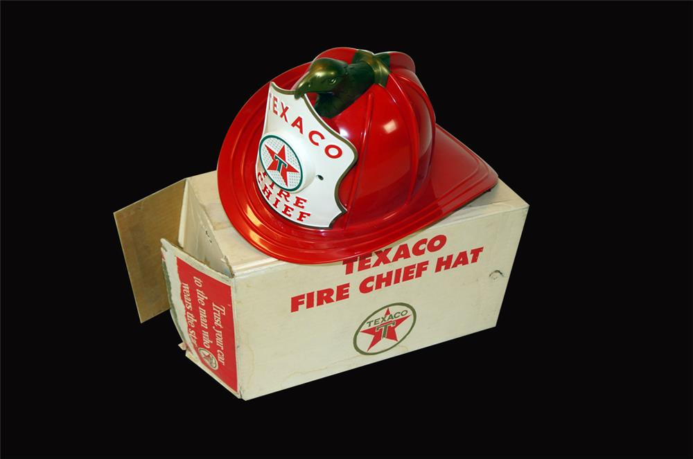 1960's Texaco Fire Chief battery operated helmet with speaker. - Front 3/4 - 182341