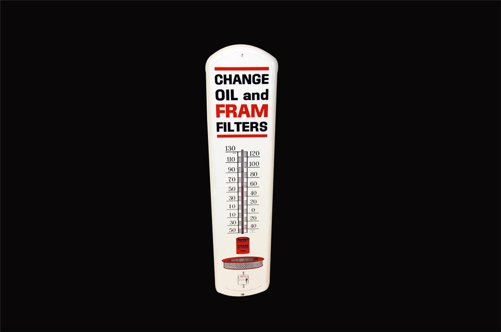 Awesome 1960's Fram Oil Filters over-sized tin automotive garage thermometer with graphics. - Front 3/4 - 182343