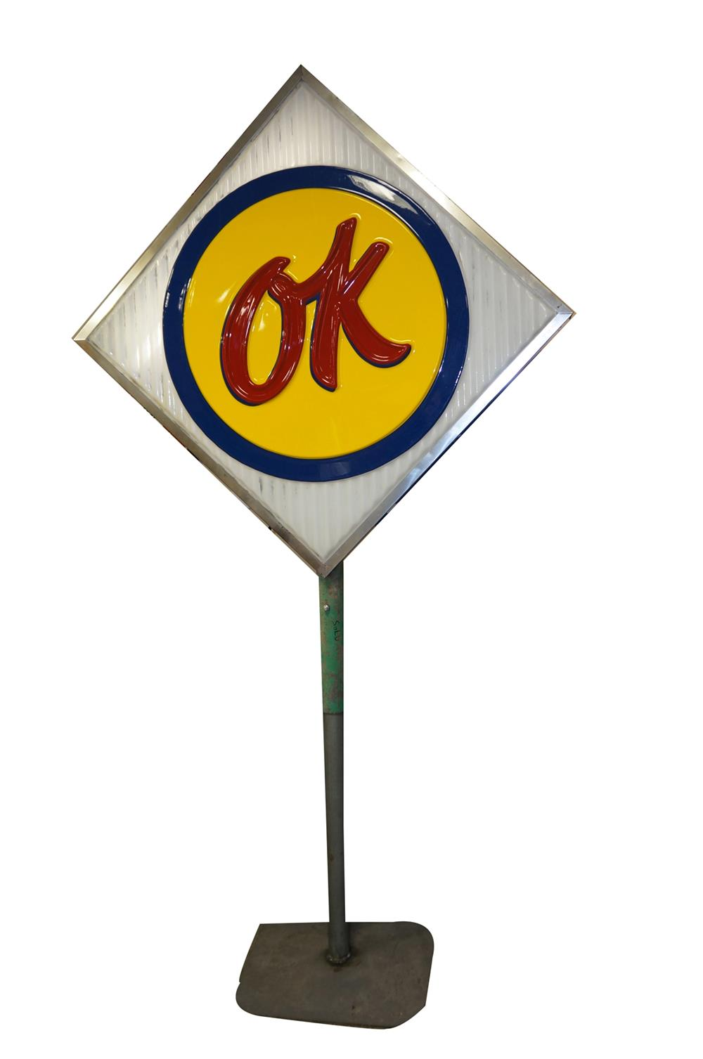 1960's Chevrolet OK Used Cars single-sided light-up dealership sign on stand. - Front 3/4 - 182346