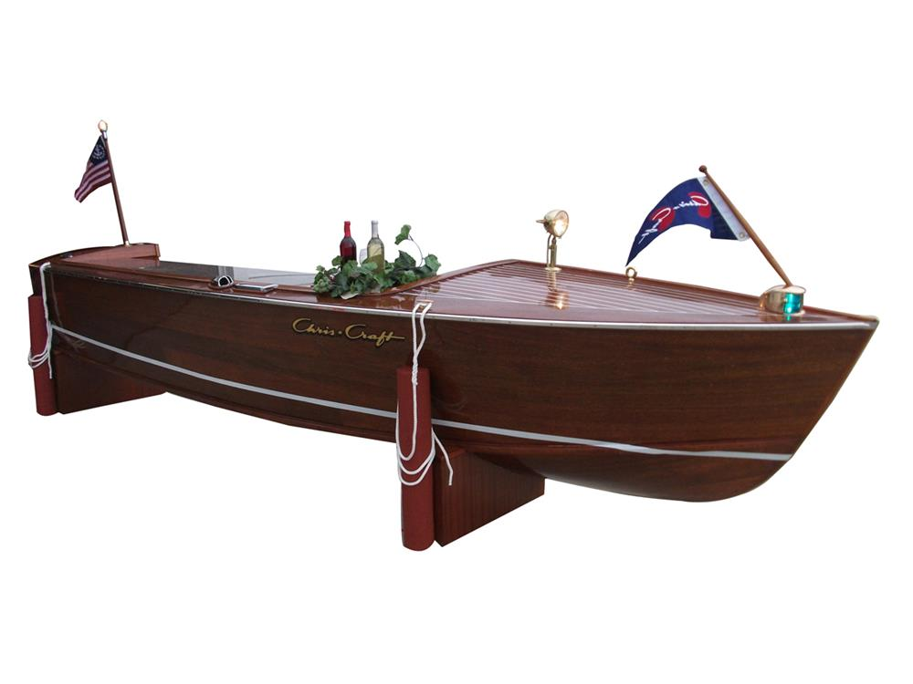 Simply superb 1958 17' Chris Craft wooden speed boat bar. - Front 3/4 - 182365