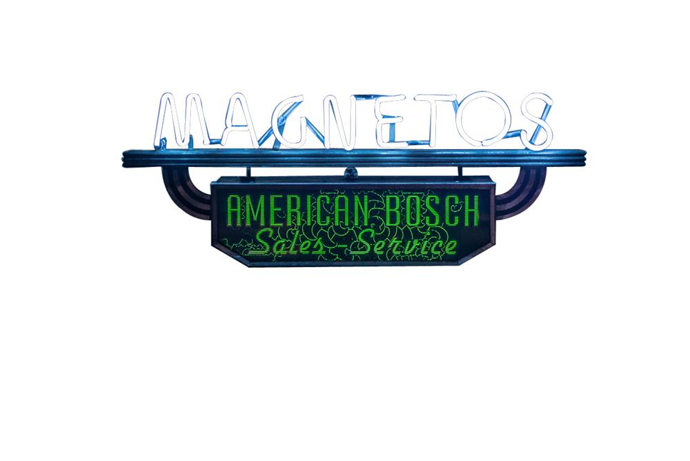 "1930's American Bosch ""Magnetos"" Sales-Service neon light-up automotive garage sign. - Front 3/4 - 182505"