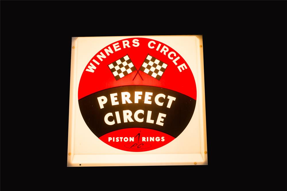 Vintage N.O.S. Perfect Circle Piston Rings light-up automotive garage sign. - Front 3/4 - 182510