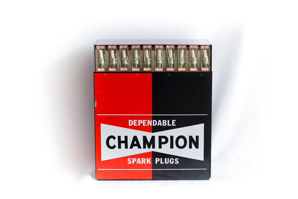 Highly desirable Champion Spark Plugs vendor cabinet. - Front 3/4 - 182512