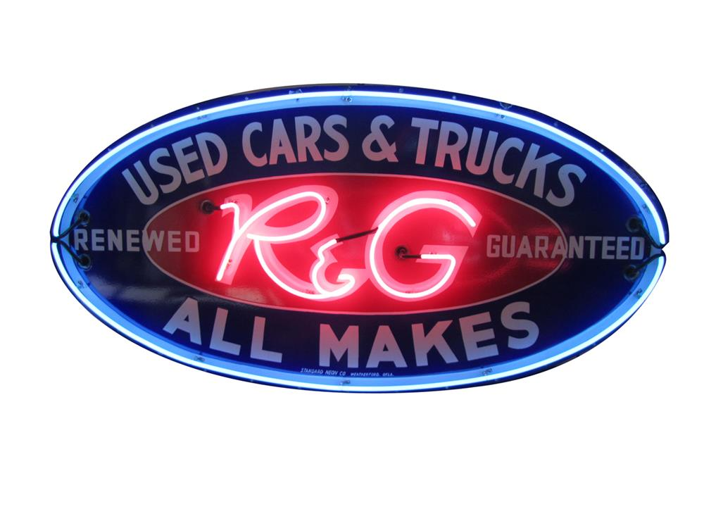 Hard to find 1930's Ford R&G (Renewed and Guaranteed) Used Cars and Trucks single-sided porcelain dealership sign. - Front 3/4 - 182513