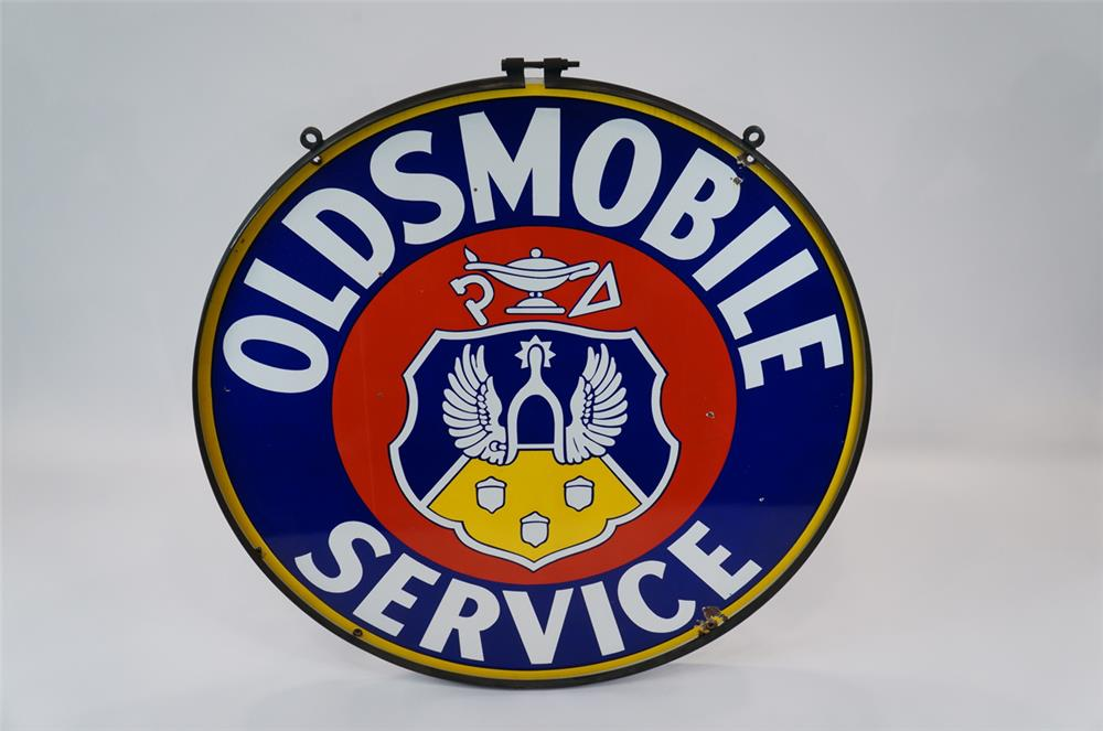 Addendum Item - 1940's Oldsmobile double-sided porcelain sign. - Front 3/4 - 183121