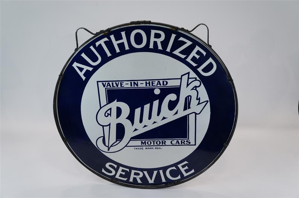 Addendum Item - 1930s Buick Authorized Service double-sided porcelain dealership sign with logo.  Found in the original hanging ring. - Front 3/4 - 183122