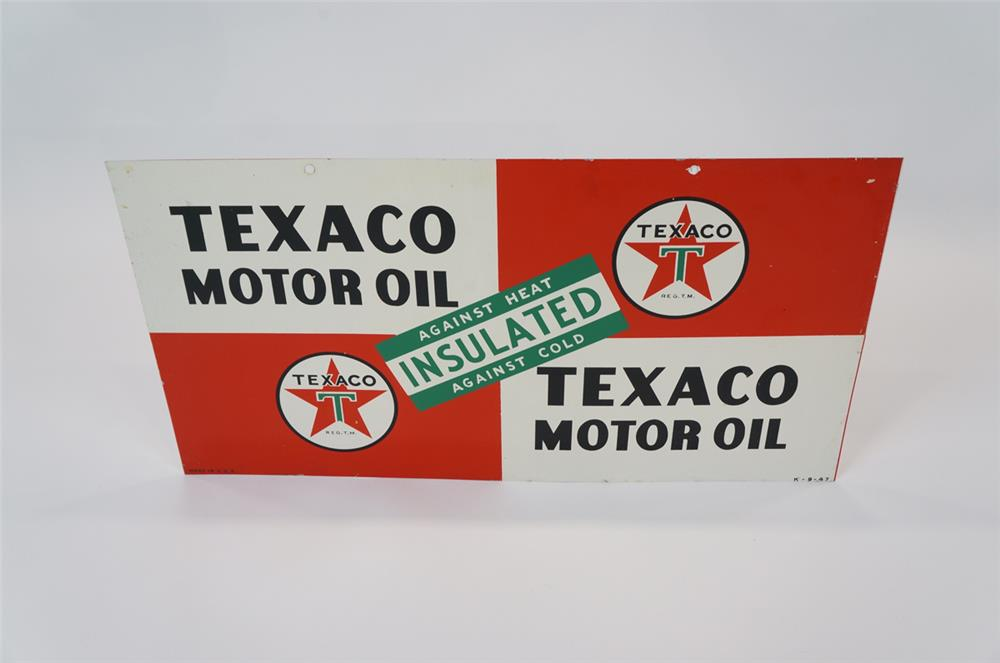 Addendum Item - 1947 Texaco Motor Oil double-sided tin service station sign. - Front 3/4 - 183125