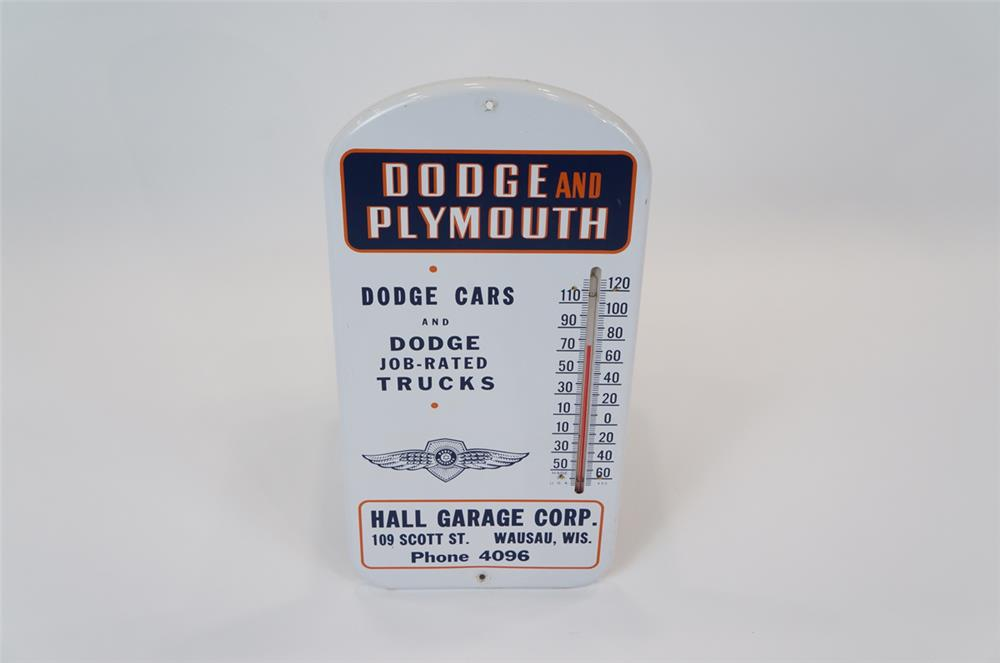 Addendum Item - Circa 1940's-50's Dodge and Plymouth single-sided tin dealership thermometer with logos. - Front 3/4 - 183126