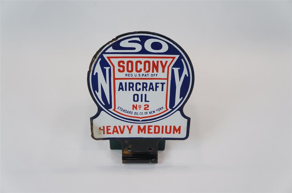 Addendum Item - 1930's Socony Aircraft Oil #2 double-sided porcelain service hanger lubester sign. - Front 3/4 - 183127