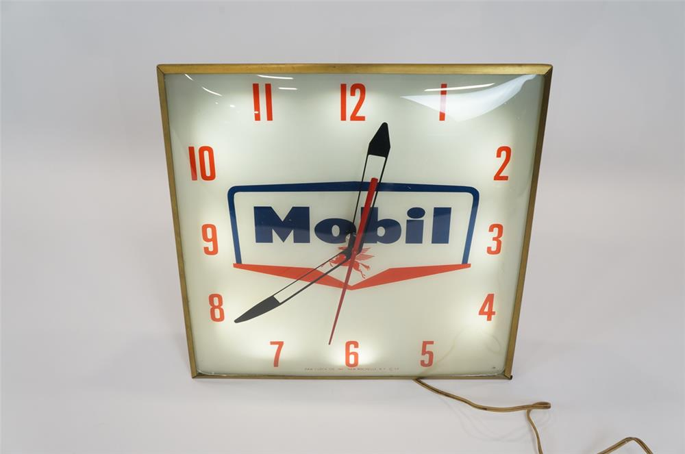 Addendum Item - Fantastic 1959 Mobil Oil glass faced light-up service station clock by Pam. - Front 3/4 - 183134