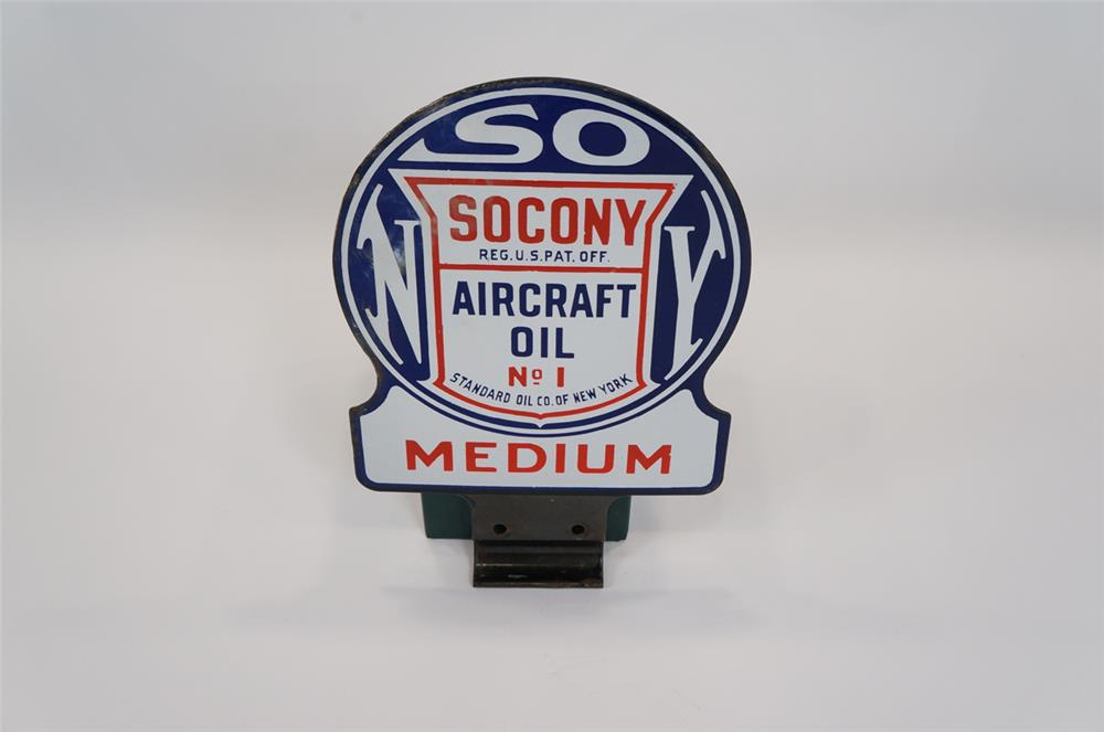 Addendum Item - 1930's Socony Aircraft Motor Oil #1 medium grade double-sided porcelain hanger lubester sign. - Front 3/4 - 183136