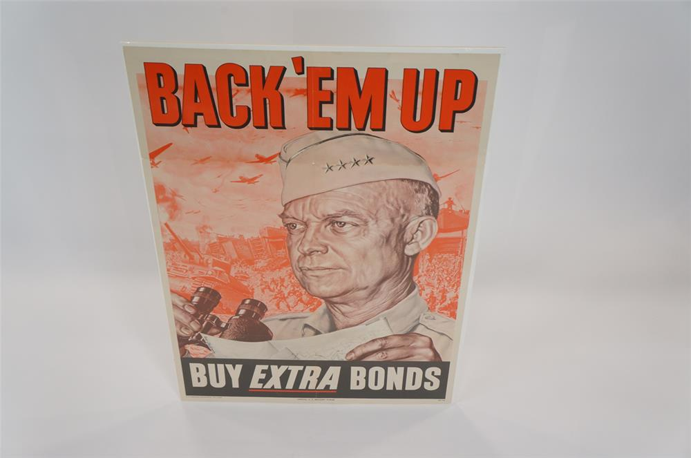 "Addendum Item - World War II War Bonds ""Back 'Em Up"" poster featuring General Eisenhower. - Front 3/4 - 183140"
