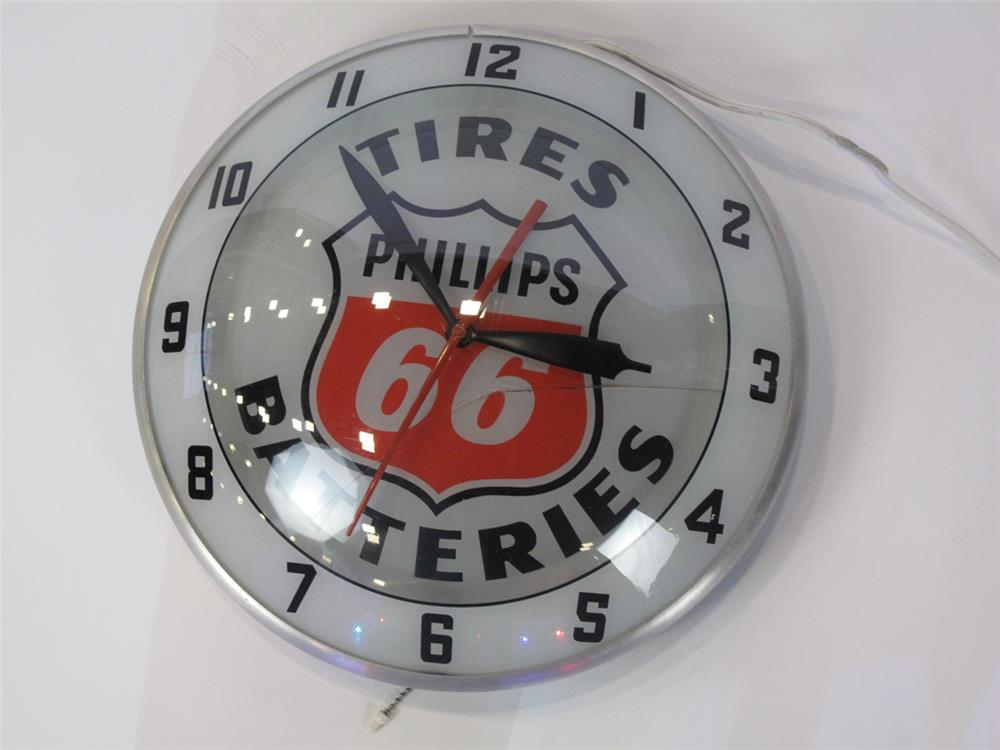 Addendum Item - Scarce Phillips 66 Double-Bubble glass faced light-up service station clock.  Cracked face and does not light up. - Front 3/4 - 183142