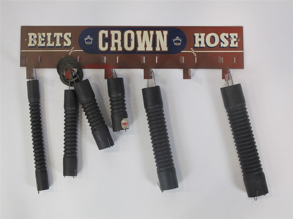 Addendum Item - 1930's-40's Blue Crown Belts-Hoses service station display rack with product. - Front 3/4 - 183143
