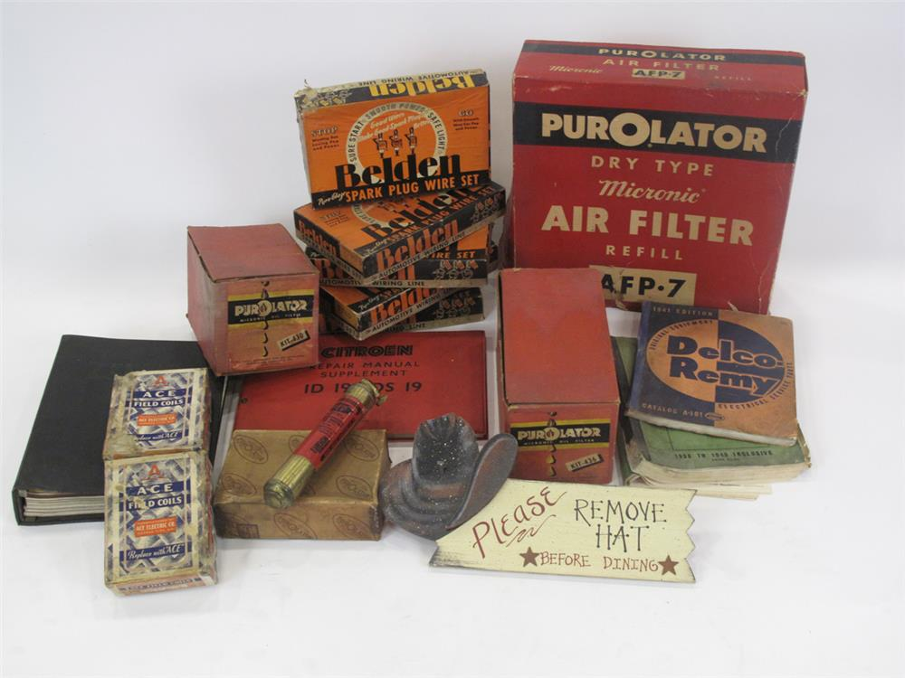 Addendum Item - Large lot of period automotive garage parts and service manuals still in the original boxes. - Front 3/4 - 183152