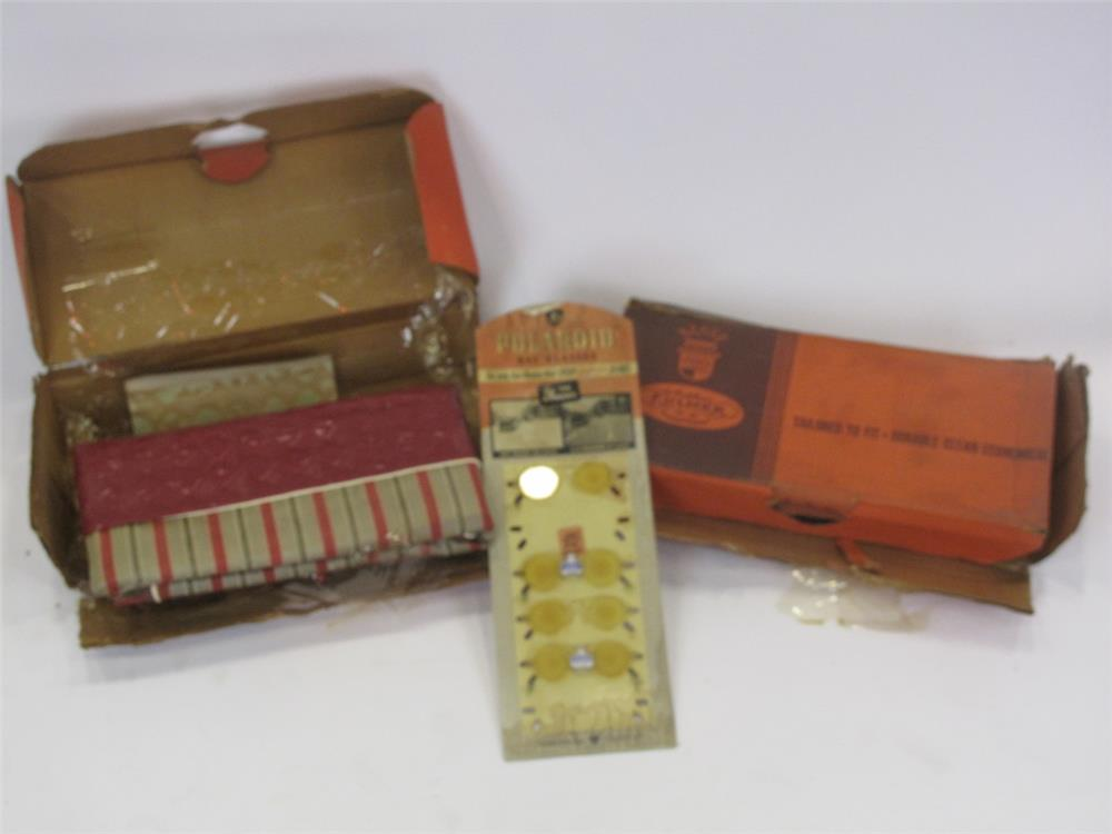 Addendum Item - Vintage lot of two unused automotive seat covers and sun glass counter-top display. - Front 3/4 - 183156