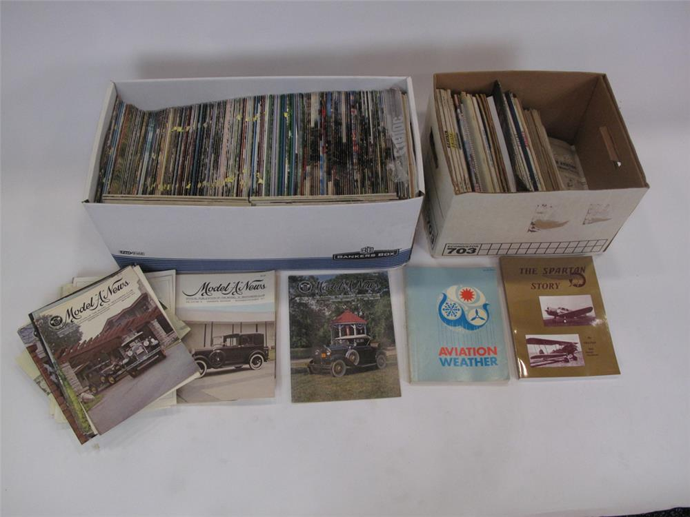 Addendum Item - Lot of two boxes consisting of Model A News and vintage Aviation Books/Magazines. - Front 3/4 - 183158