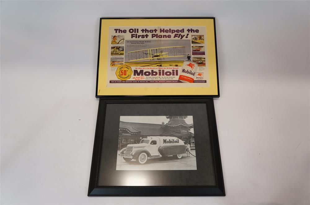 Addendum Item - Lot of two vintage framed Mobil pieces consisting of a 1953 Mobil advertisement and a Mobil Oil Chinese style station photograph. - Front 3/4 - 183170