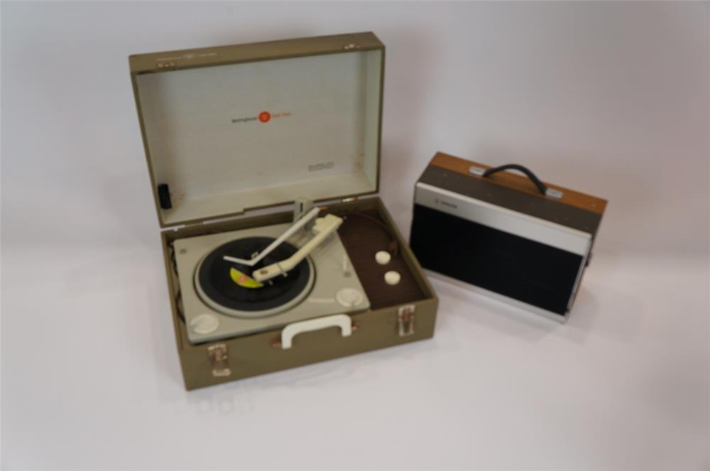 Addendum Item - Lot of two 1960's portable phonographic turn tables by Phillips and GE. - Front 3/4 - 183173