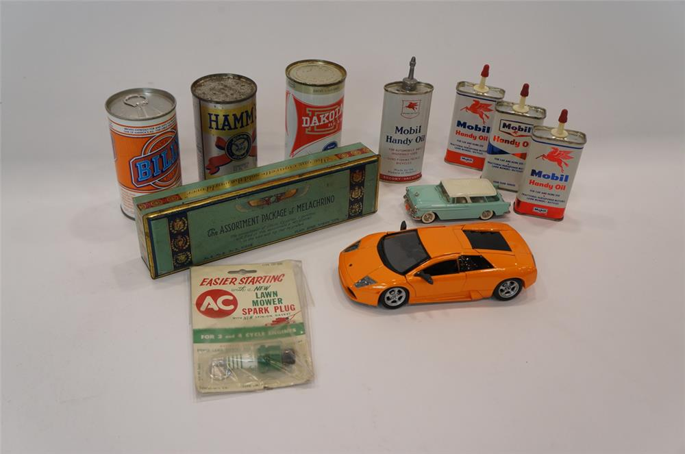 Addendum Item - Lot consisting of vintage Mobil Oil handy oilers, die-cast cars, and Hamm's Beer cans. - Front 3/4 - 183182