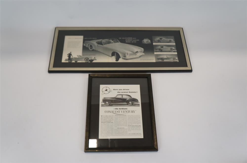 Addendum Item - Lot consisting of a Kaiser Darrin framed dealership poster and a 1954 Daimler advertisement. - Front 3/4 - 183186
